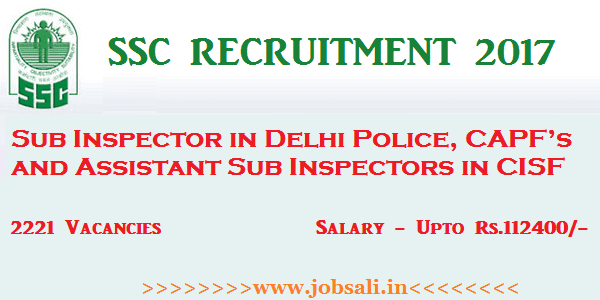 SSC Sub Inspector Vacancy, SSC Online form, SSC Notification