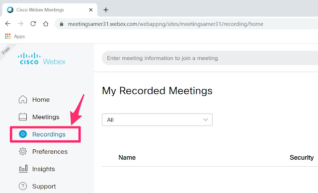 result recording webex meet