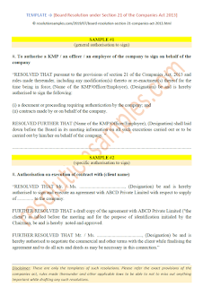 board resolution under section 21 of the companies act 2013