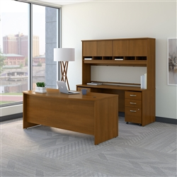 Series C Bow Front Desk with Credenza and Hutch
