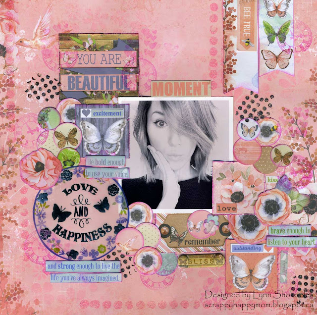 Moment Layout by Lynn Shokoples for BoBunny featuring the Butterfly Kisses Collection.