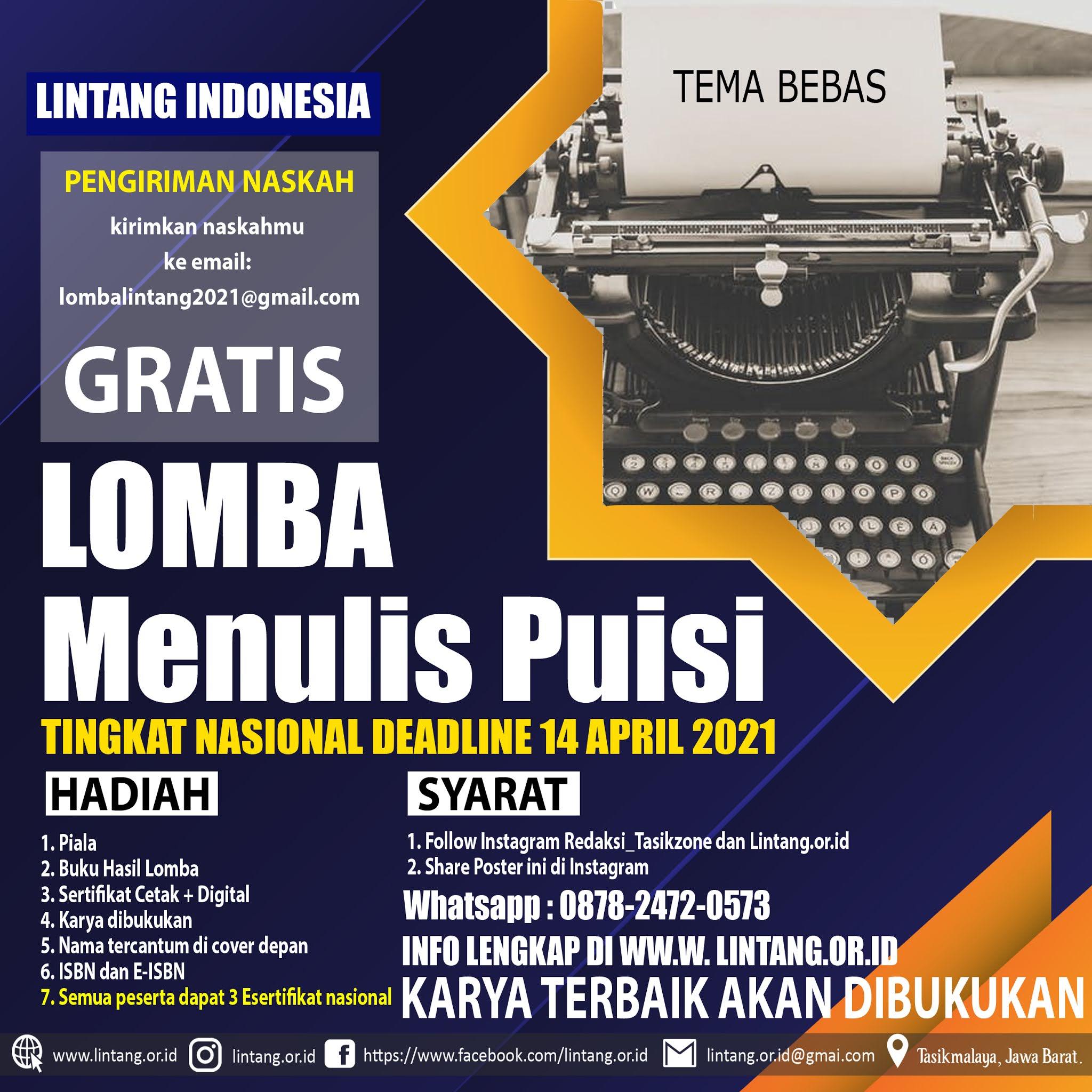 LOMBA CIPTA PUISI TINGKAT NASIONAL LINTANG INDONESIA DEADLINE 14 APRIL 2021