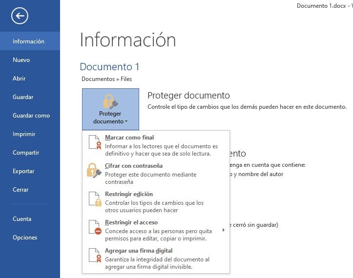 Cómo proteger documento con contraseña en Microsoft Word