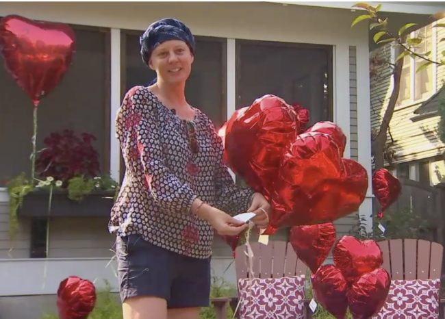 She Came Home And Saw Balloons All Over Her Yard. That is When She Started Bawling.