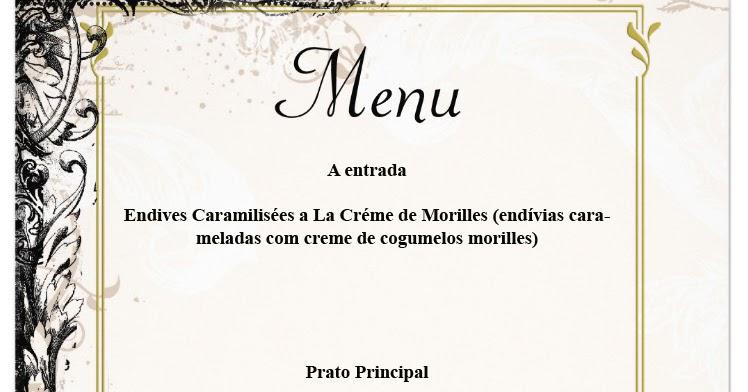 Alquimia da cozinha menu frances para um jantar especial for Menu frances tipico