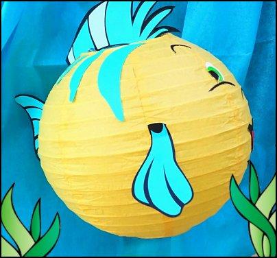 Flounder paper lantern  mermaid party decorations - mermaid party ideas - mermaid themed birthday party - ocean theme party decorations - under the sea party - little mermaid birthday party ideas - beach party - water theme parties - mermaid table decor - party props  under the sea birthday party - mermaid balloons - mermaid jewels party favors