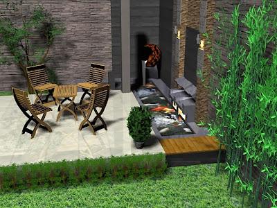model kolam ikan depan rumah minimalis