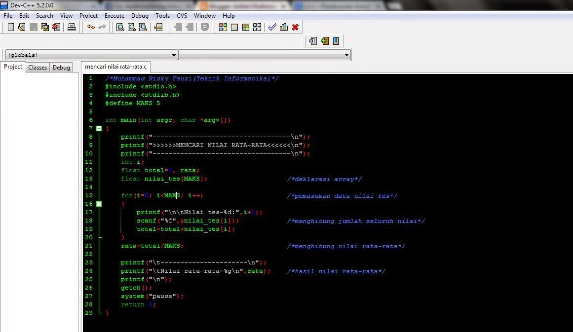 Coding Mencari Nilai Rata Rata Dengan Bahasa C