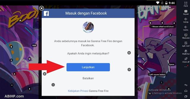 Lanjutkan Login Facebook Free Fire