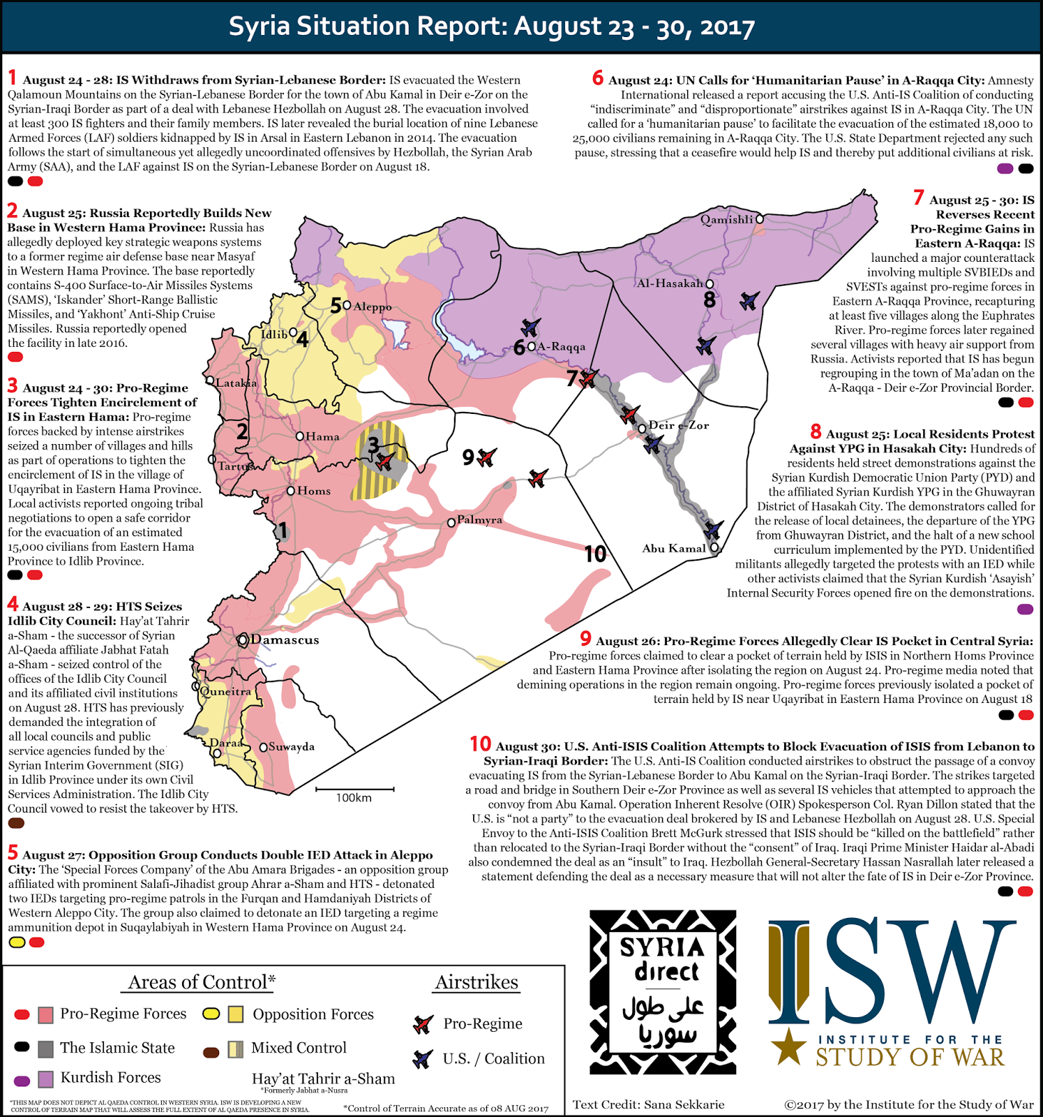 Syria Situation Report: August 23 - 30, 2017