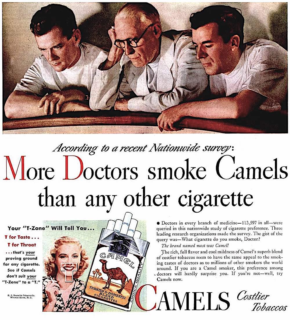 1939 Camels cigarettes advertisement, the T-Zone, doctors smoke cigarettes