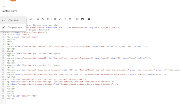 Saving the contact form code for blogger- logicbrace