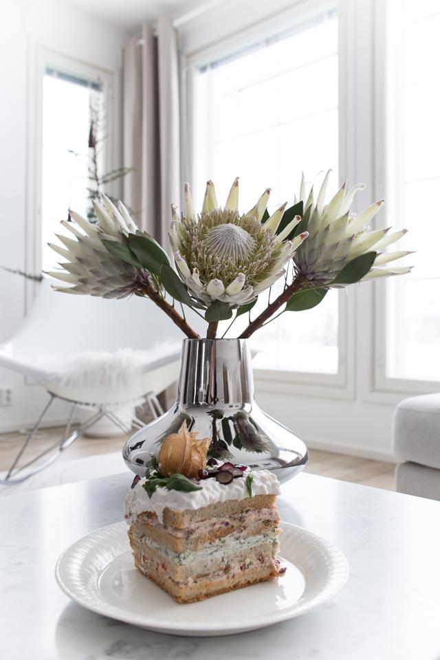 maidoton kasvisvoileipäkakku, Villa H, protea, kastejuhla, ristiäiset, resepti