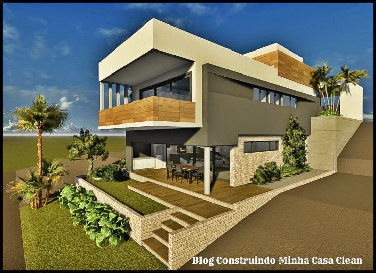 Construindo minha casa clean fachadas de casas em for Casas de ladrillo visto fotos