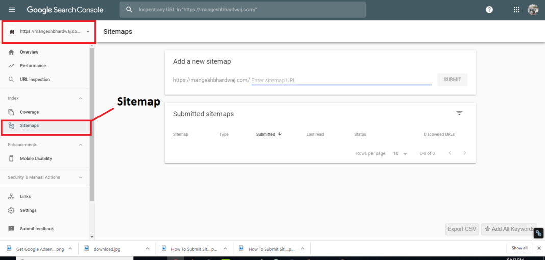Now, on the left sidebar, hit the sitemaps options, a new interface will open in front of you.