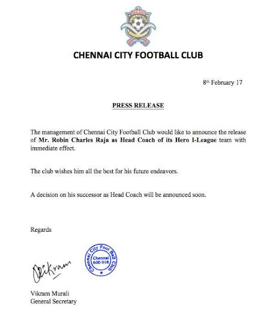 Chennai City FC sack head coach