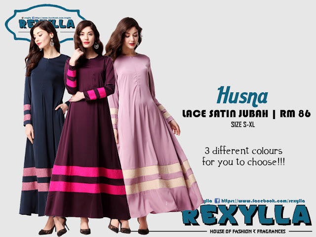 rexylla, lace satin, joint lace satin, jubah, husna collection