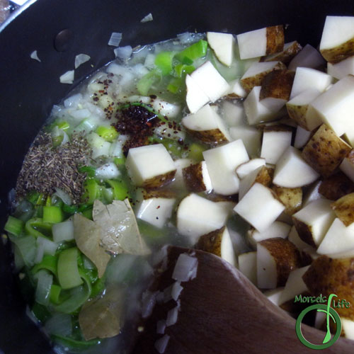 Morsels of Life - Creamy Potato Leek Soup Step 4 - Add in remaining materials, and simmer until potatoes cooked through.