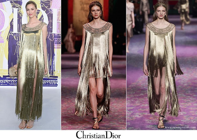 Beatrice Borromeo wore a golden fringed gown from Haute Couture Spring/Summer 2020 collection of Christian Dior
