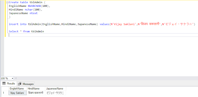 how we can store the multilingual (Hindi, Japanese etc.)  data in SQL SERVER table