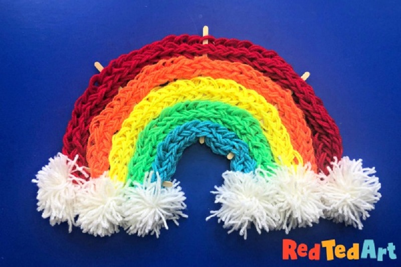 finger knitted wool rainbow