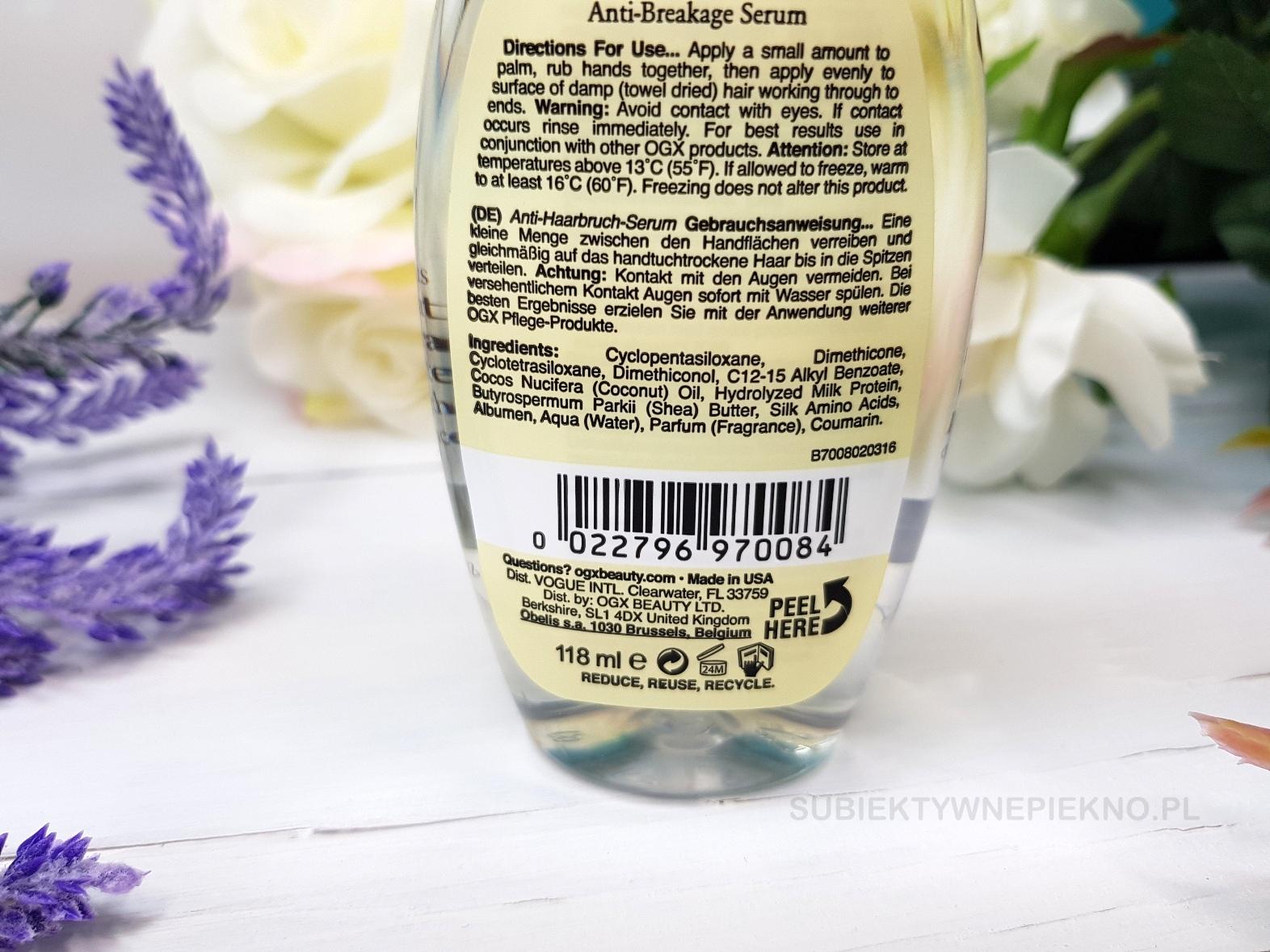 Organix Coconut Milk - wzmacniające, dobre serum do włosów OGX. Blog, opinie