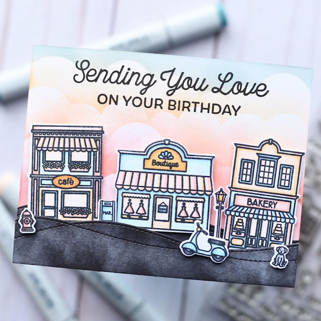 Sunny Studio Stamps: City Streets Birthday Card by Amanda Fitterer