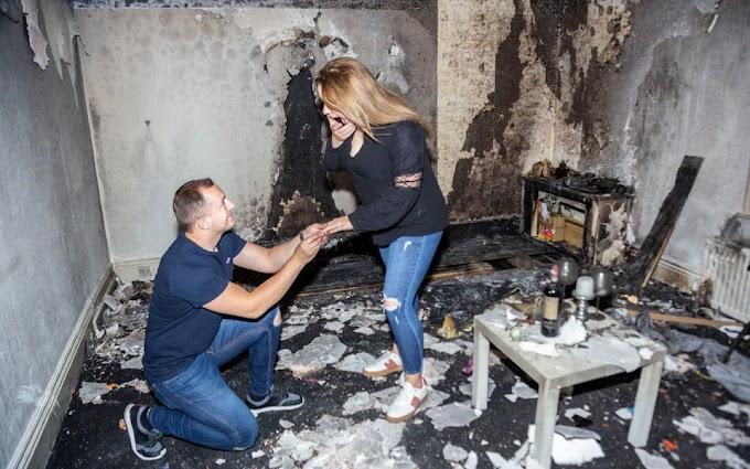 Quema su piso intentando hacer una pedida de mano épica y romántica