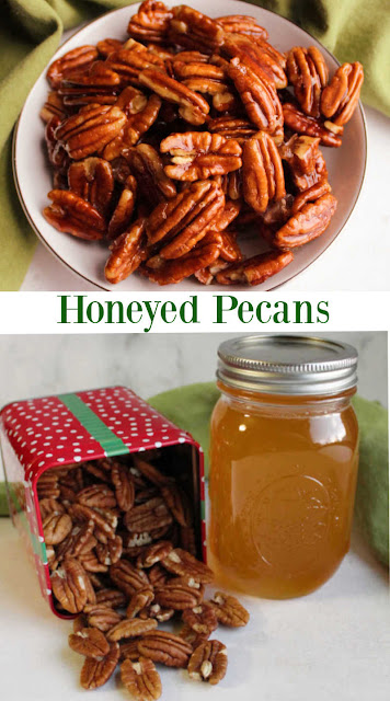 Delicious 4 ingredient candied pecans coated in delicious honey. They are a perfect snack on their own or as a topping for so many things.