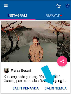 Cara copy caption IG