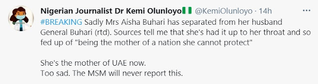 'Aisha Buhari Has Separated From Her Husband, Now Lives In UAE' - Kemi Olunloyo