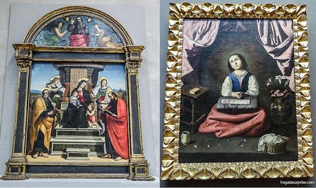 """""""Madona com o Menino e Santos"""", de Rafael, e """"A Virgem Jovem"""", de Francisco de Zurbarán, no Metropolitan Museum de Nova York"""