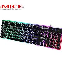 Teclado iMice Gaming Steam Punk 104 teclas teclados retroiluminados con cable USB resistente al agua