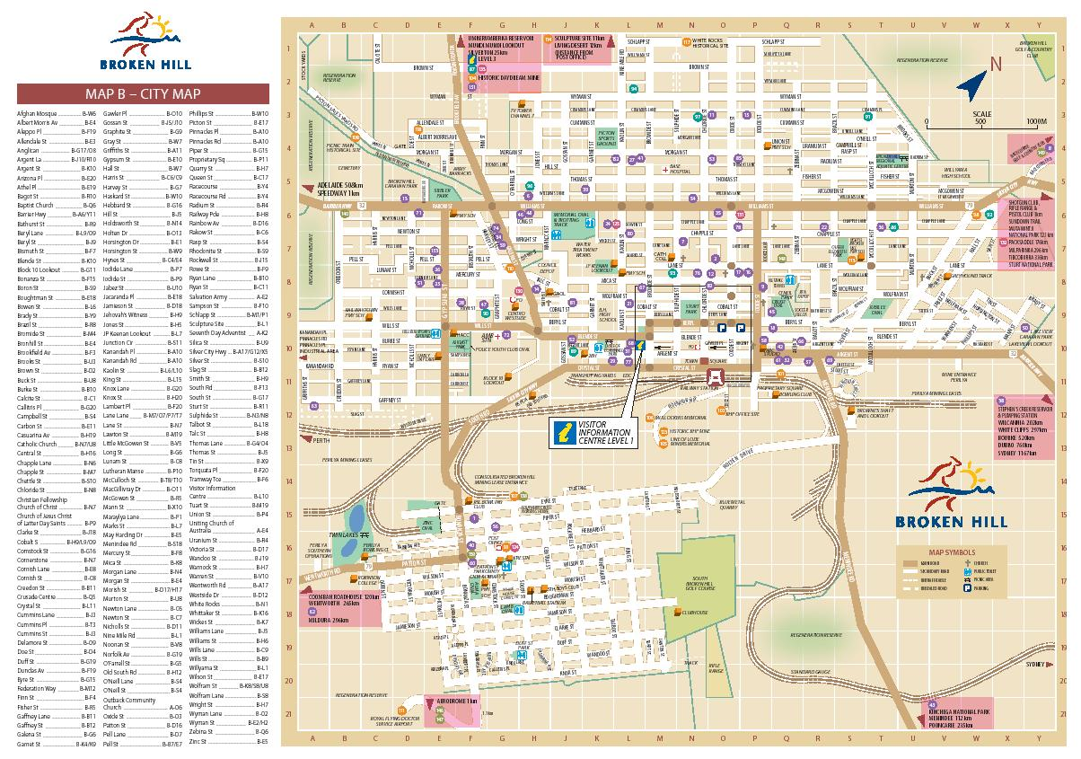 Broken Hill Map ilovebrokenhill.com: Broken Hill Visitor Information new website