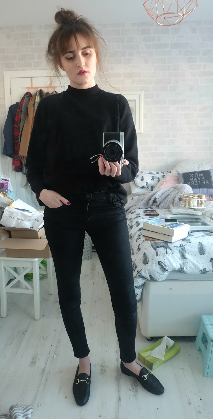all black outfit, balfern leather jacket all saints, j brand vanity jeans, destiny loafers office, monica vinader rose gold mink bracelet, kate spade sally bag