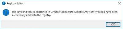 Klik dua kali pada file registri dan klik 'Ok'