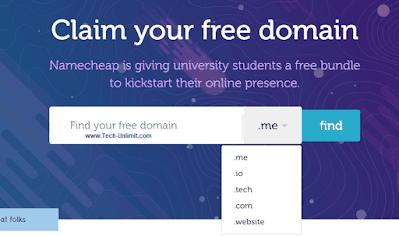 دومين مجاني me بالايميل الجامعي