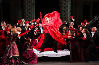 Aled Hall as Arturo with the Opera Holland Park Chorus in Lucia di Lammermoor, Opera Holland Park 2012