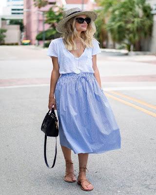outfit con falda larga minimalista