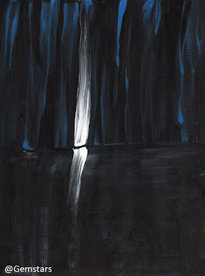 Swamp light in the deep woods acrylic painting