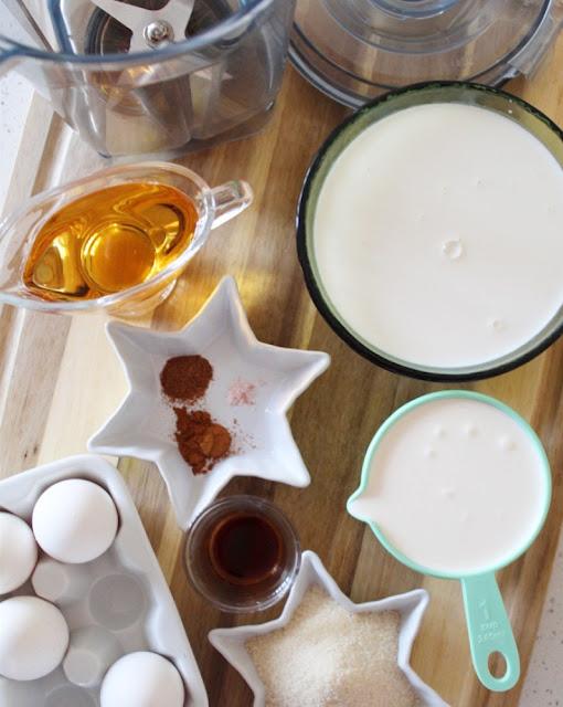 Eggnog en licuadora - ingredientes
