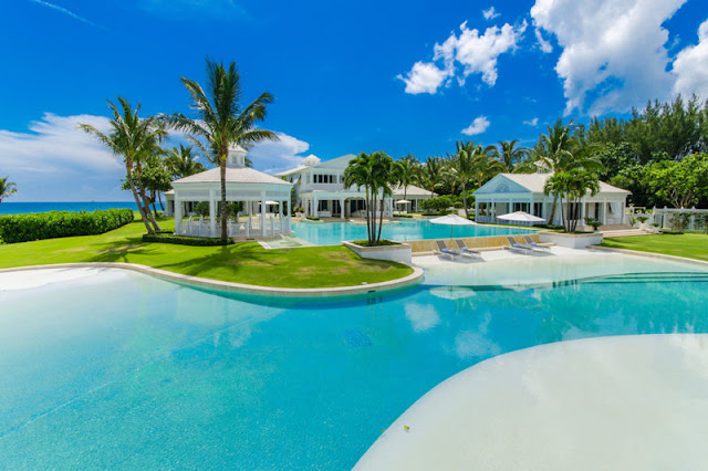 Celine Dion's Florida mansion oceanfront backyard with pool