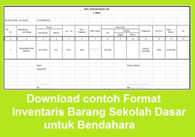 Download contoh Format Inventaris Barang Sekolah Dasar untuk Bendahara