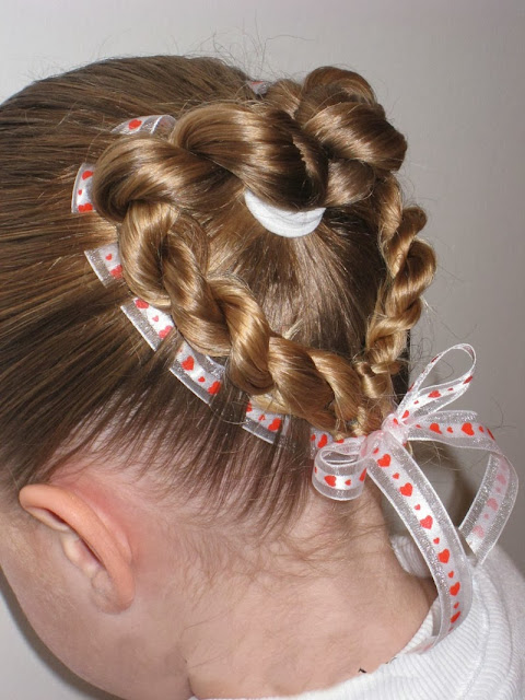 heart shape braids hairstyle for valentine or school fete