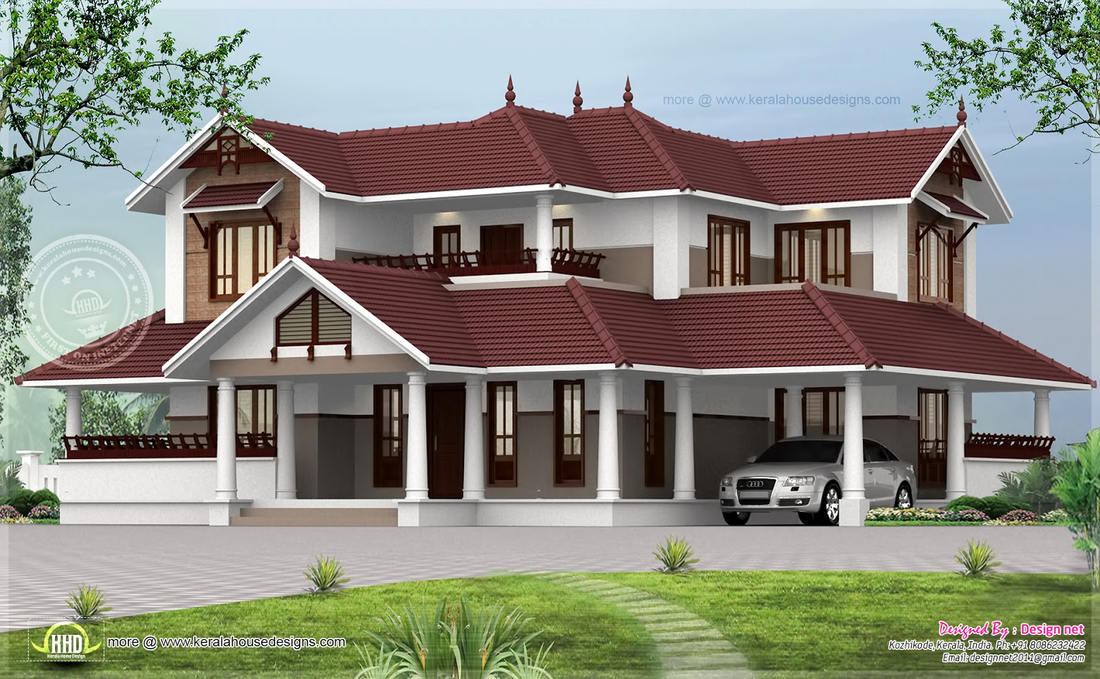 Kerala style sloping roof home exterior house design plans for Luxury style house plans