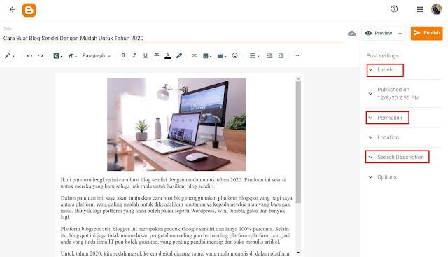 Cara Mula Post Artikel Di Blog