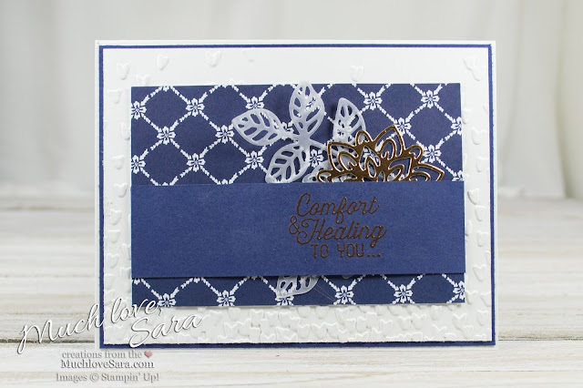 Floral Boutique Flourish Comfort Card | Elegant Navy and White Handmade Card