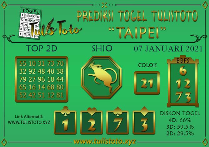 Prediksi Togel TAIPEI TULISTOTO 07 JANUARI 2021