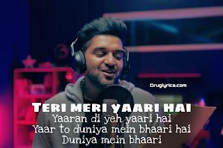 Yaari Lyrics Guru Randhawa