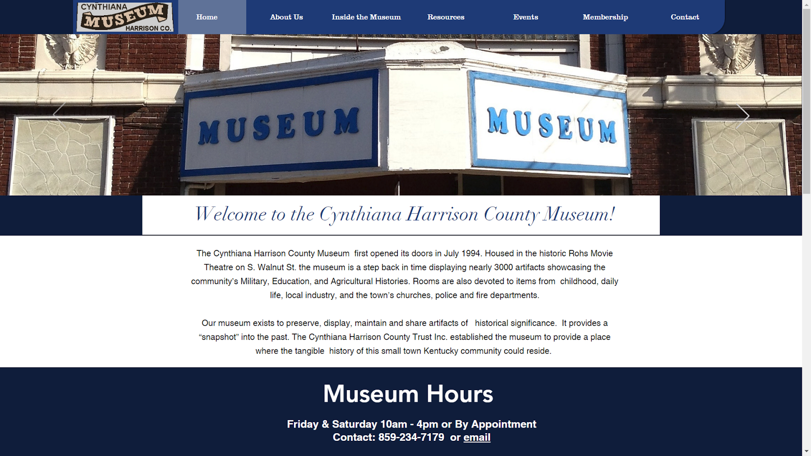the home page of www harricynmuseum org